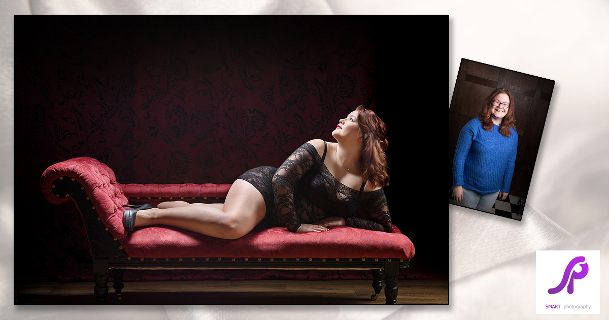 boudoir client before and after reclining on chaise lounge