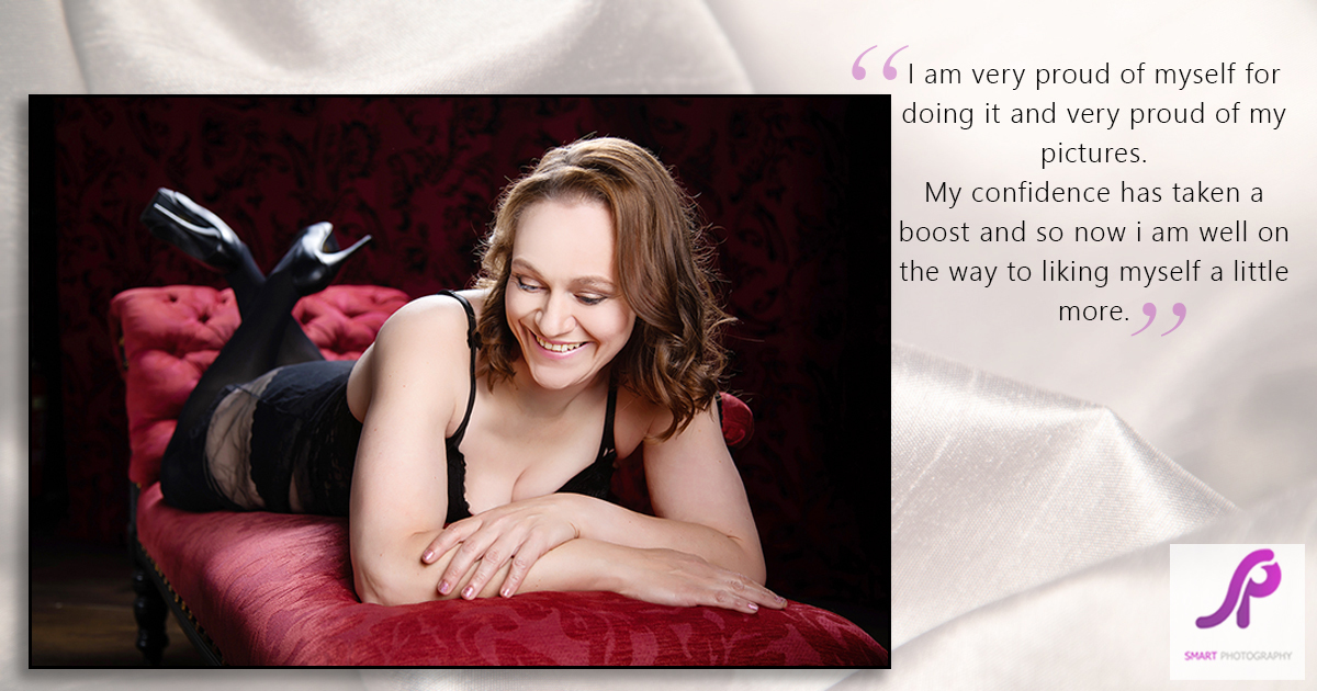 boudoir client testimonial on chaise longue
